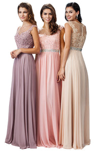 Main image of Embroidered Lace Sheer Top Long Formal Prom Dress