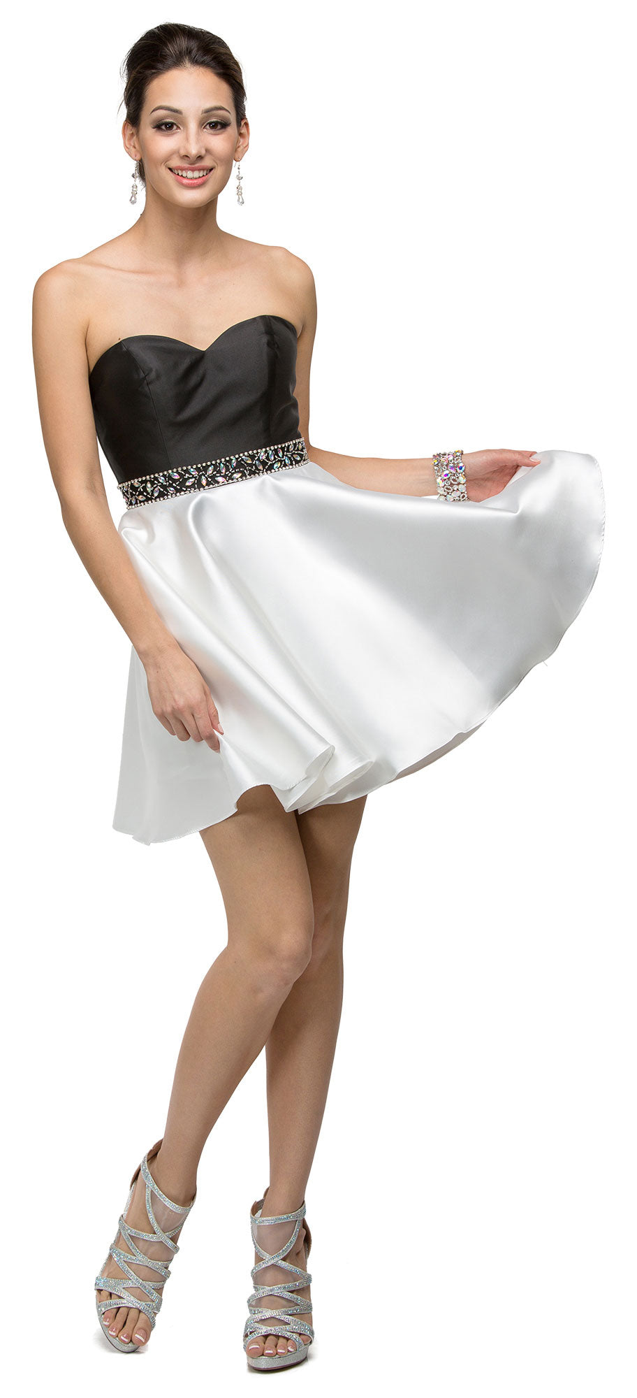 Image of Strapless Sweetheart Two Tone Short Homecoming Party Dress in Black/White