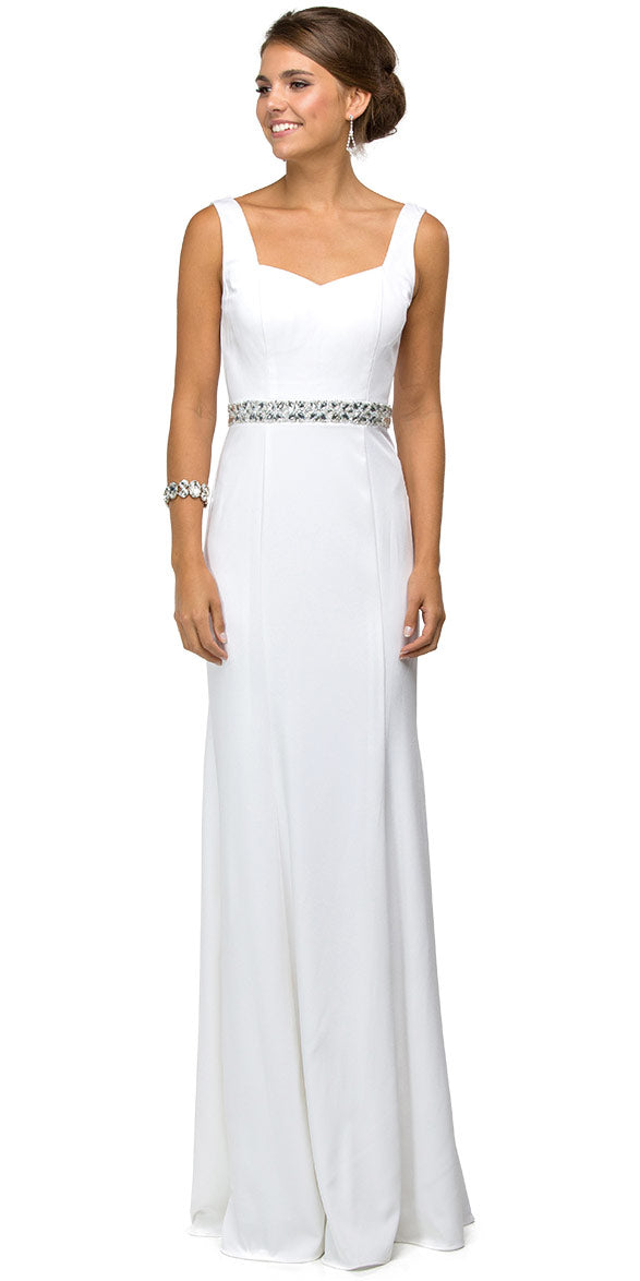 Main image of Wide V-neck Beaded Waist Long Formal Prom Dress