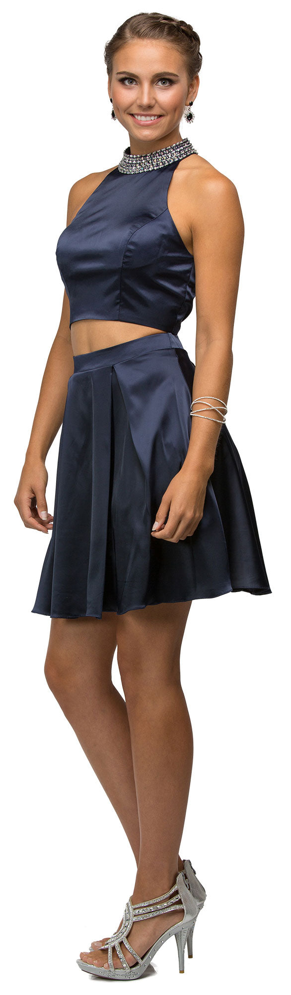 Image of Jeweled Collar Two Piece Short Homecoming Party Dress in Navy