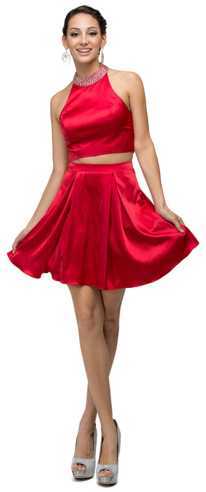 Main image of Jeweled Collar Two Piece Short Homecoming Party Dress