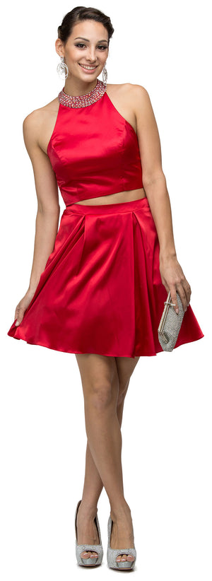 Image of Jeweled Collar Two Piece Short Homecoming Party Dress in an alternative image