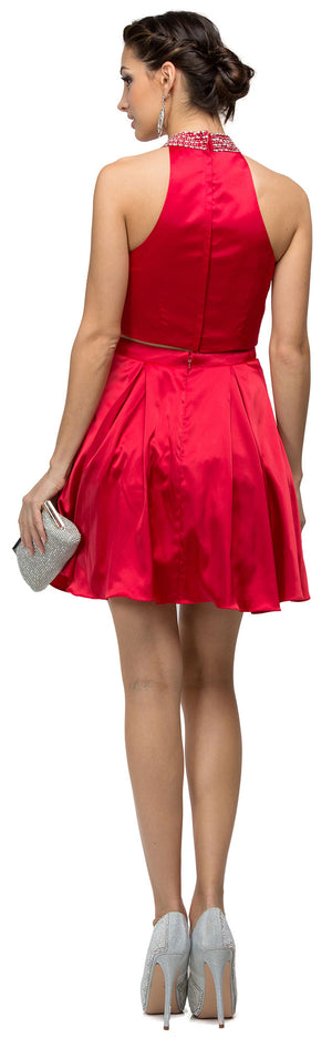 Back image of Jeweled Collar Two Piece Short Homecoming Party Dress