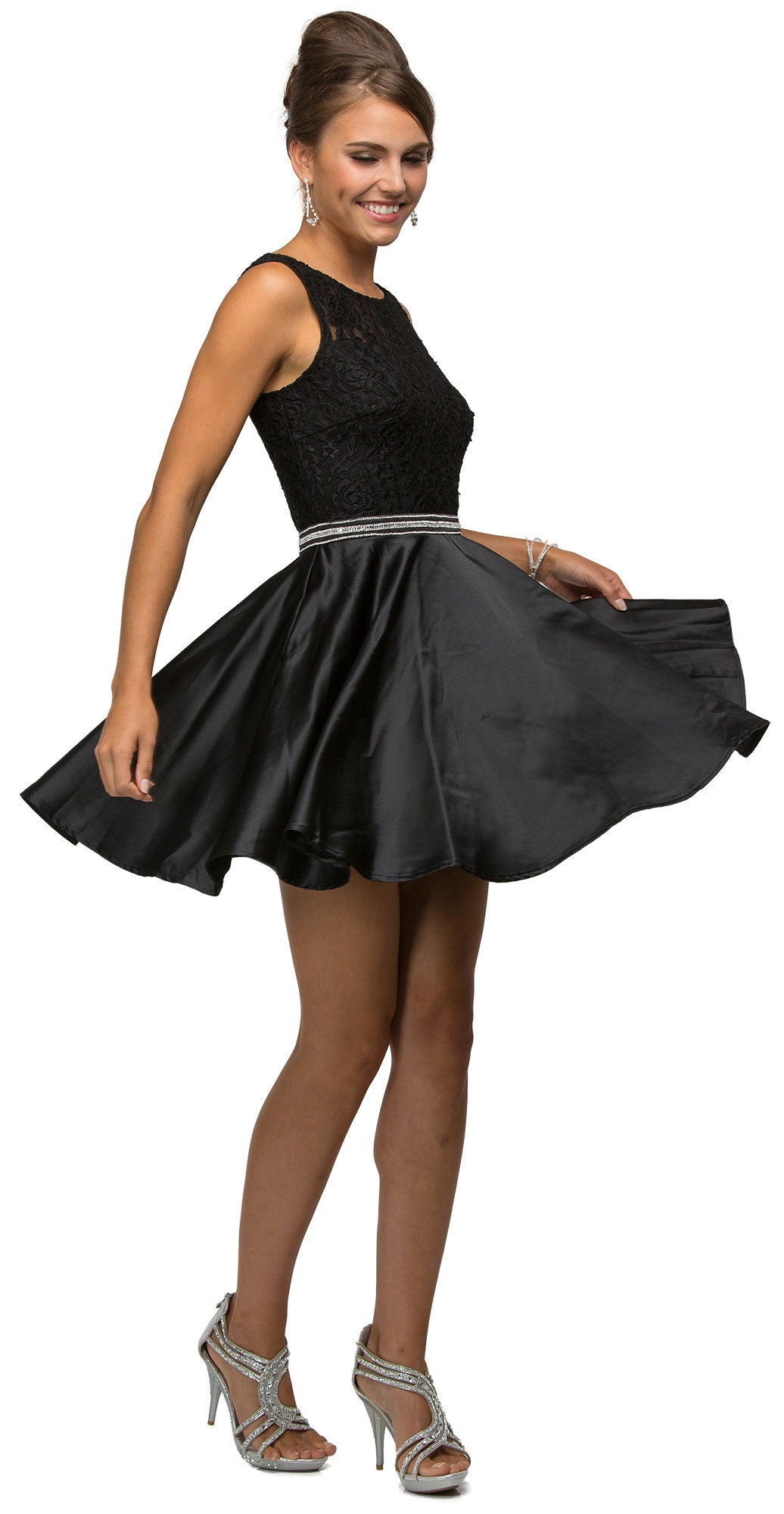Image of Lace Bodice Beaded Waist Short Homecoming Graduation Dress in Black
