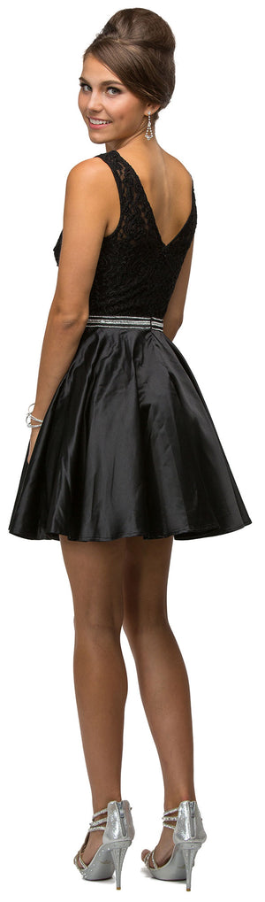Back image of Lace Bodice Beaded Waist Short Homecoming Graduation Dress