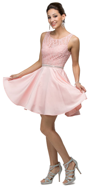 Image of Lace Bodice Beaded Waist Short Homecoming Graduation Dress in Blush