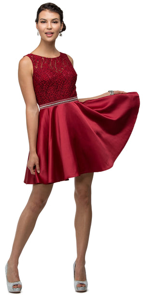 Image of Lace Bodice Beaded Waist Short Homecoming Graduation Dress in Burgundy