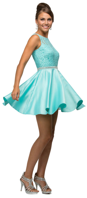 Image of Lace Bodice Beaded Waist Short Homecoming Graduation Dress in Mint