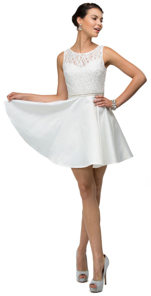 Image of Lace Bodice Beaded Waist Short Homecoming Graduation Dress in Off White