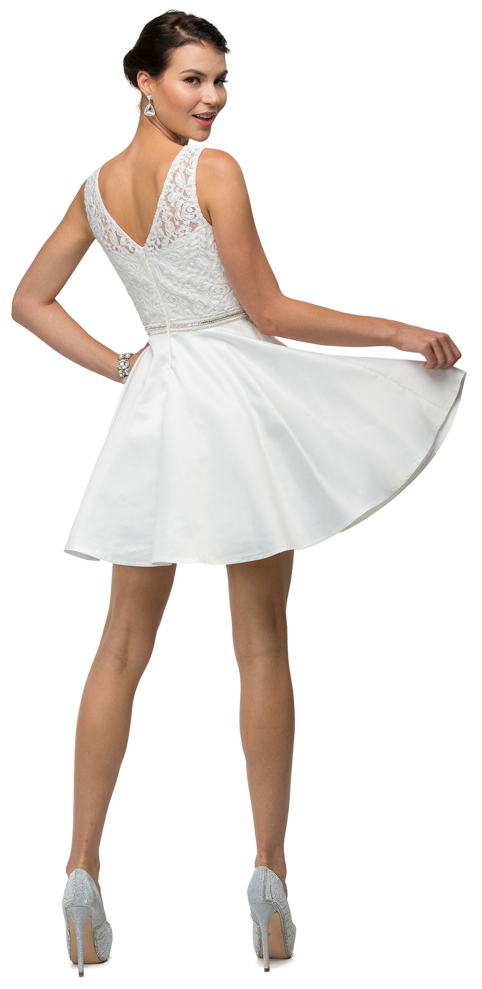 Image of Lace Bodice Beaded Waist Short Homecoming Graduation Dress back in Off White