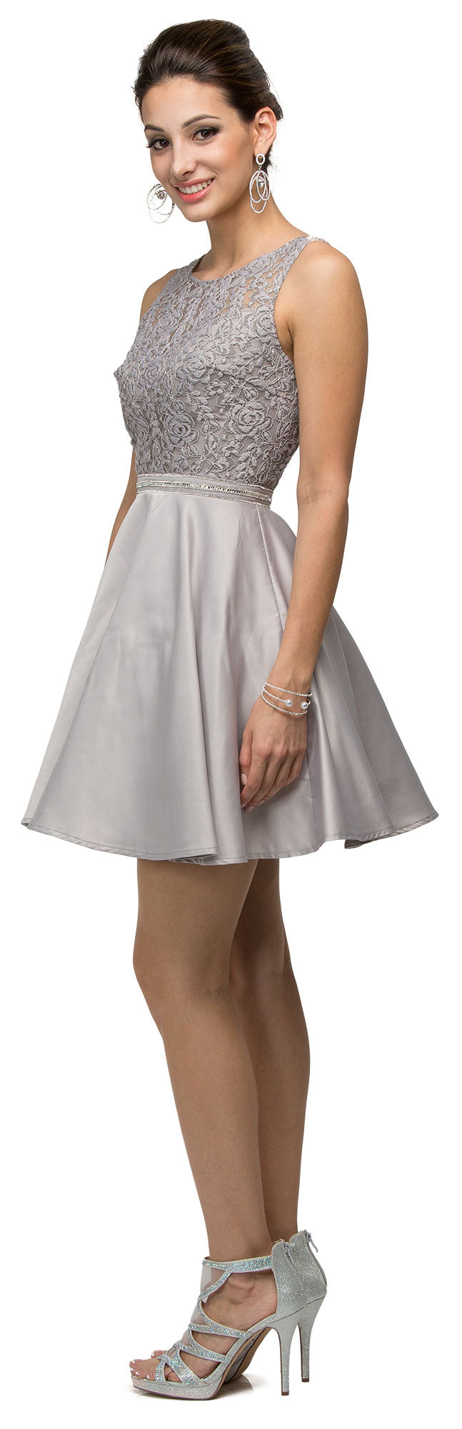 Main image of Lace Bodice Beaded Waist Short Homecoming Graduation Dress