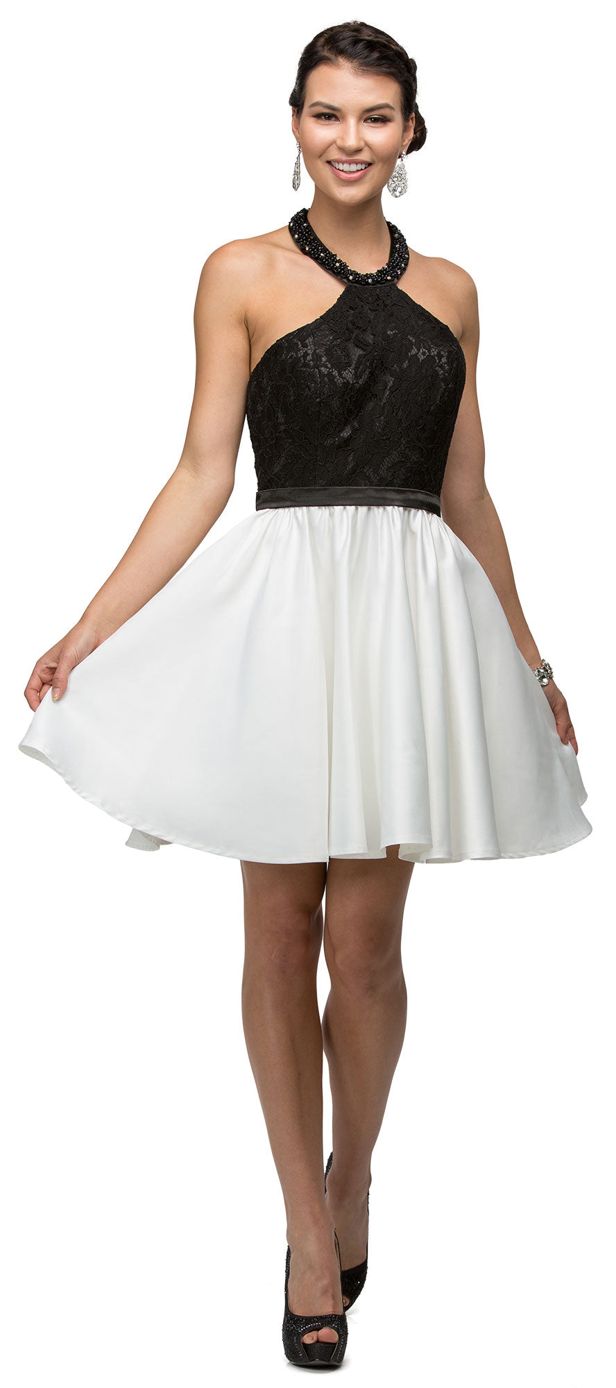 Main image of Halter Lace Top Beaded Neck Short Homecoming Party Dress