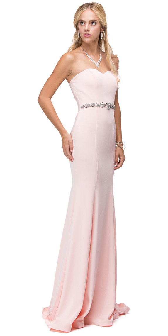 Image of Sweetheart Neck Rhinestones Waist Long Jersey Prom Dress in Blush