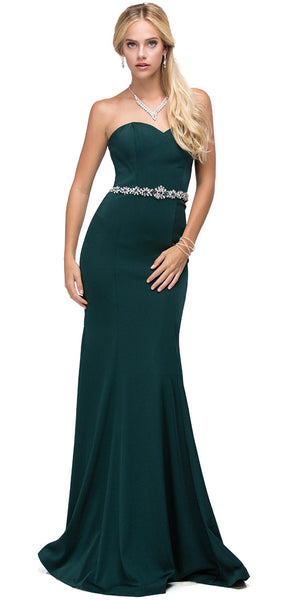 Image of Sweetheart Neck Rhinestones Waist Long Jersey Prom Dress in Hunter Green