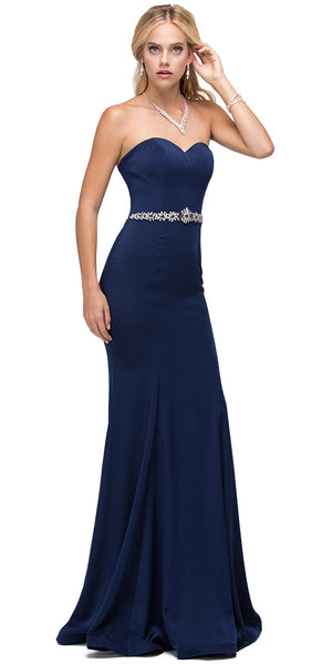 Image of Sweetheart Neck Rhinestones Waist Long Jersey Prom Dress in Navy