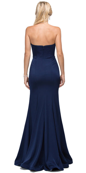 Back image of Sweetheart Neck Rhinestones Waist Long Jersey Prom Dress