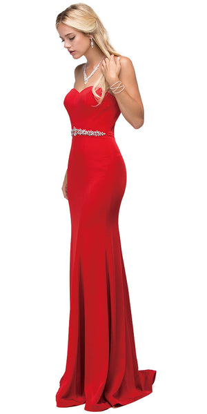 Image of Sweetheart Neck Rhinestones Waist Long Jersey Prom Dress in Red