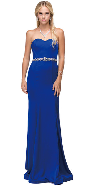 Main image of Sweetheart Neck Rhinestones Waist Long Jersey Prom Dress