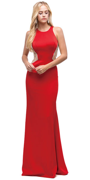 Image of Embellished Mesh Accent Racerback Long Evening Prom Dress in Red