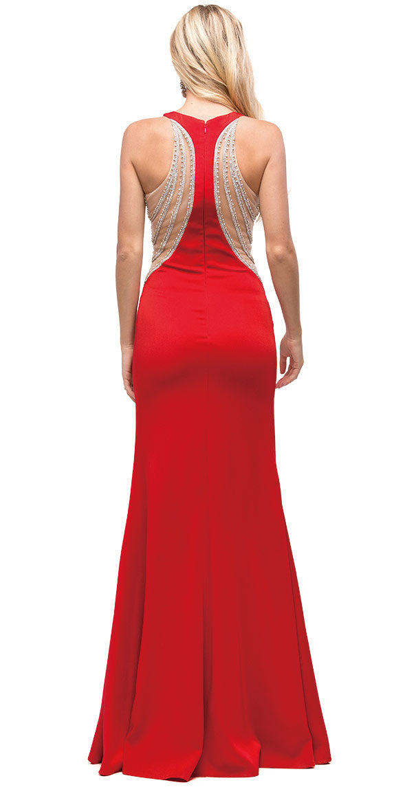 Image of Embellished Mesh Accent Racerback Long Evening Prom Dress back in Red