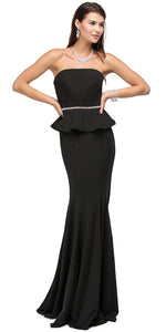 Main image of Strapless Peplum Top Rhinestones Waist Long Prom Dress