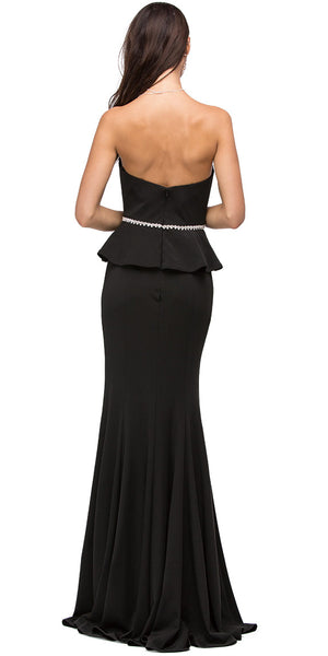 Back image of Strapless Peplum Top Rhinestones Waist Long Prom Dress