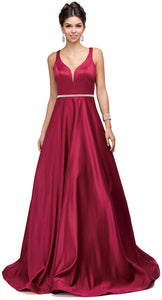 Main image of V-neck Bejewel Waist Floor Length Puffy Prom Pageant Dress