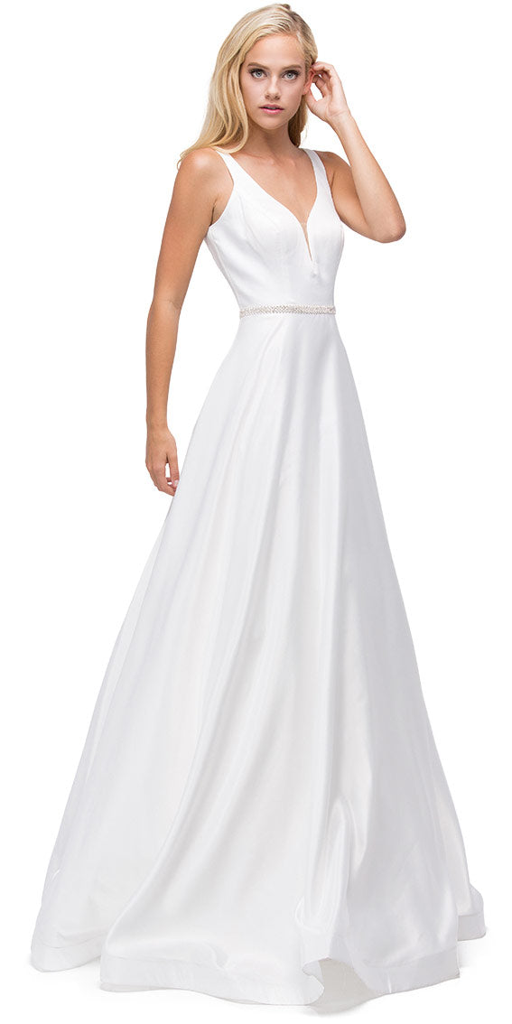 Image of V-neck Bejewel Waist Floor Length Puffy Prom Pageant Dress in Off White