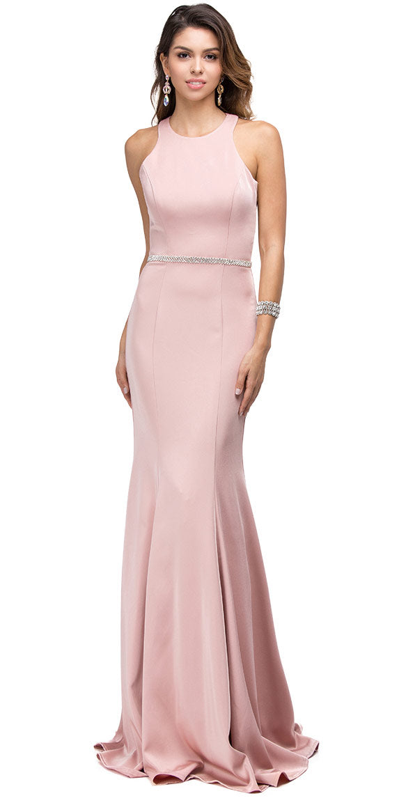 Image of Scoop Neck Bejeweled Waist Racerback Long Prom Dress in Blush