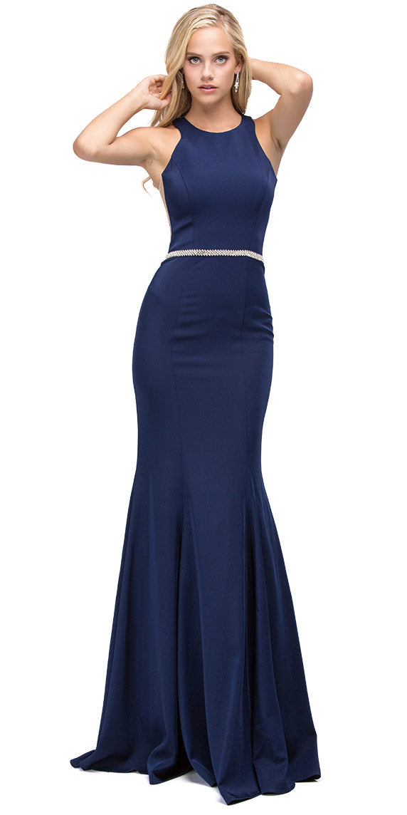 Image of Scoop Neck Bejeweled Waist Racerback Long Prom Dress in Navy