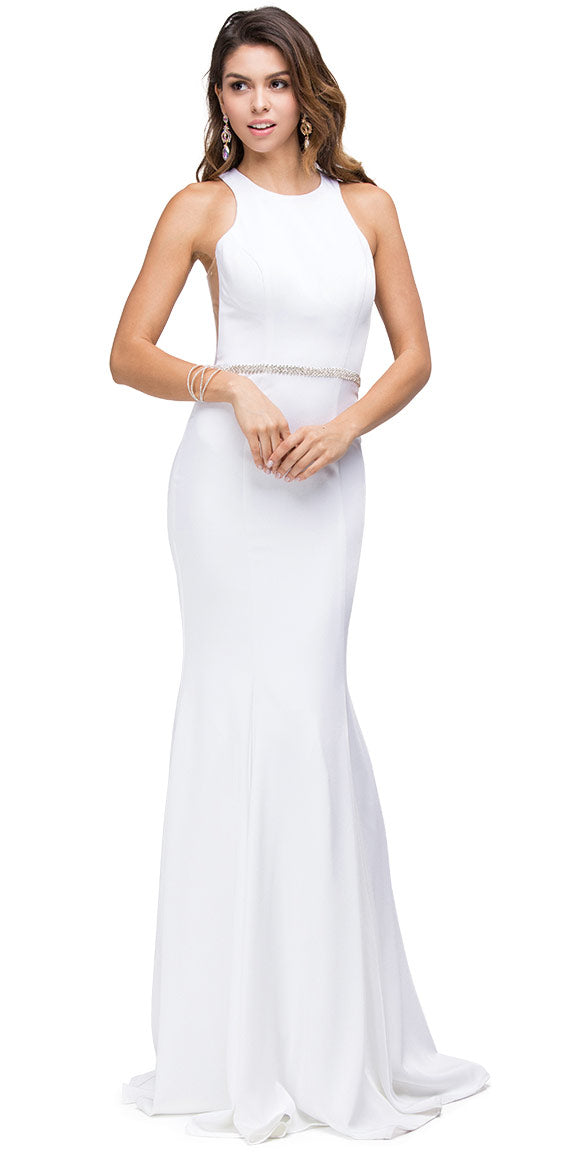 Image of Scoop Neck Bejeweled Waist Racerback Long Prom Dress in Off White