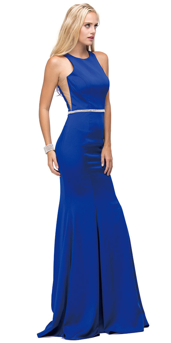 Main image of Scoop Neck Bejeweled Waist Racerback Long Prom Dress
