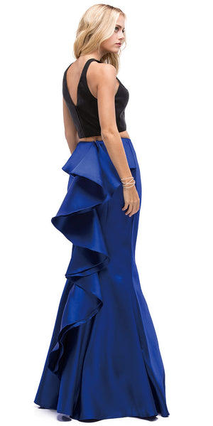 Image of Short Top Long Ruffled Back Skirt Two Piece Prom Dress back in Royal Blue
