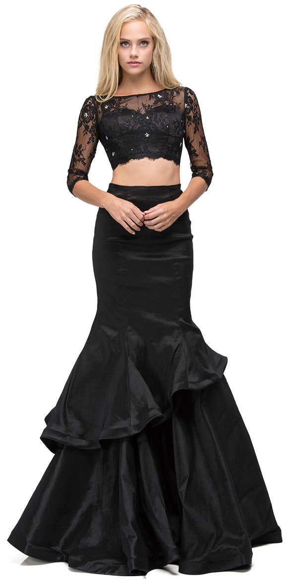 Main image of Floral Mesh Crop Top Mermaid Skirt Two Piece Prom Dress