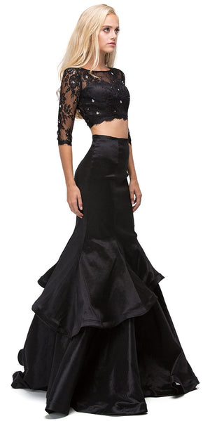 Image of Floral Mesh Crop Top Mermaid Skirt Two Piece Prom Dress in an alternative image