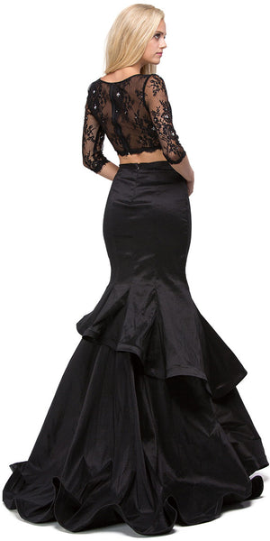 Back image of Floral Mesh Crop Top Mermaid Skirt Two Piece Prom Dress
