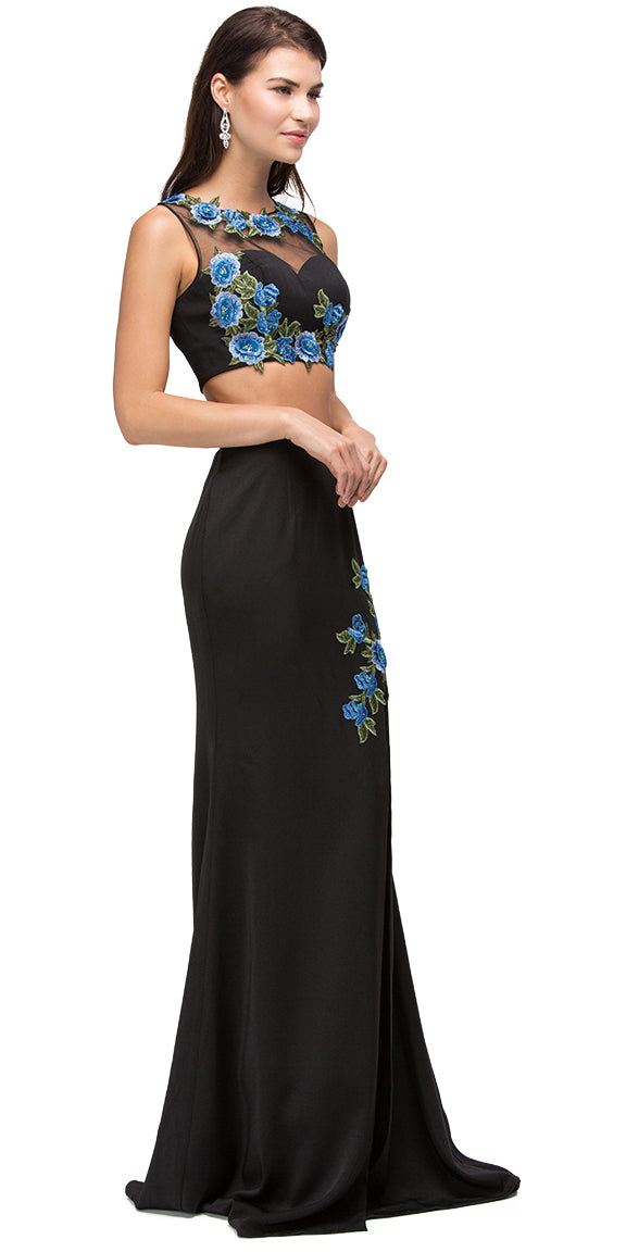Main image of Floral Applique Mesh Top Two Piece Long Prom Dress