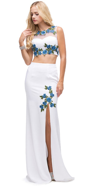Image of Floral Applique Mesh Top Two Piece Long Prom Dress in White