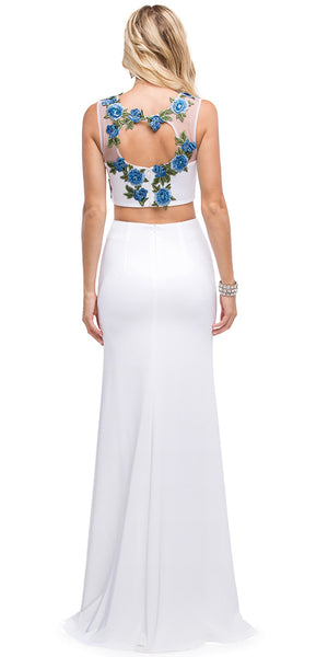 Image of Floral Applique Mesh Top Two Piece Long Prom Dress back in White