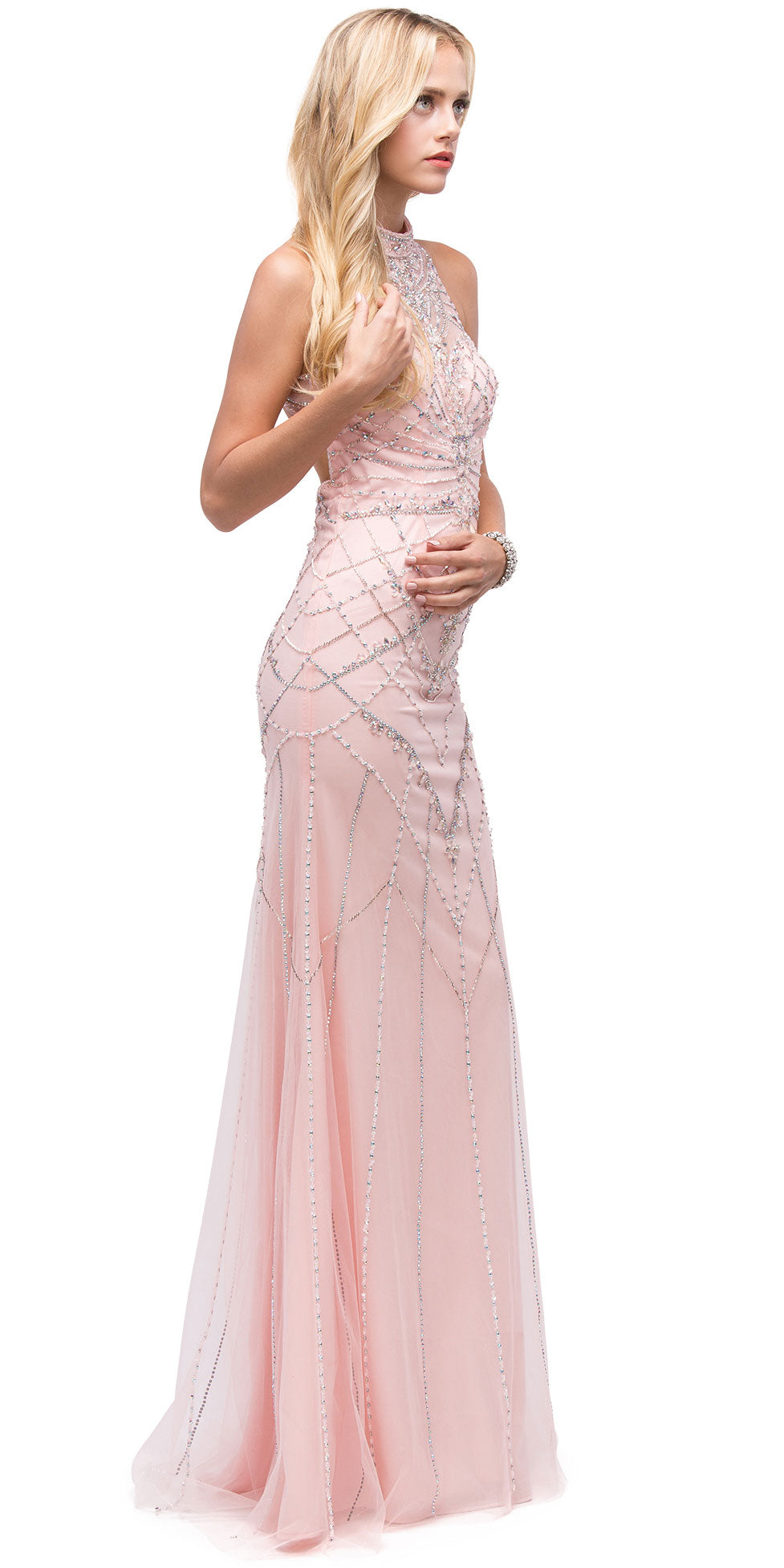 Image of Glamorous Halter Open Back Beaded Prom Dress in an alternative image