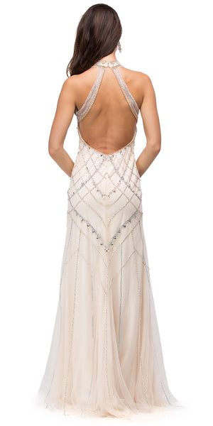 Back image of Glamorous Halter Open Back Beaded Prom Dress