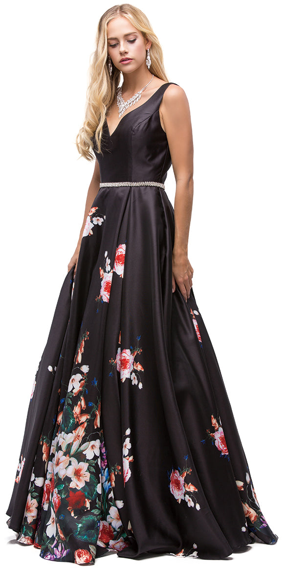Image of V-neck Floral Print Rhinestones Waist A-line Long Prom Dress in Black
