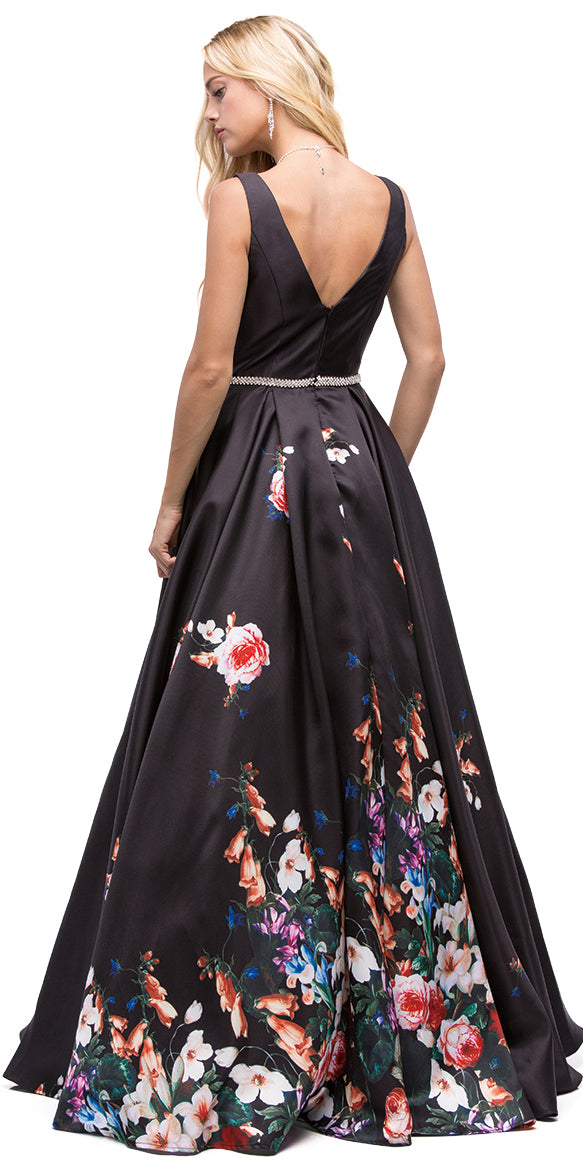 Back image of V-neck Floral Print Rhinestones Waist A-line Long Prom Dress