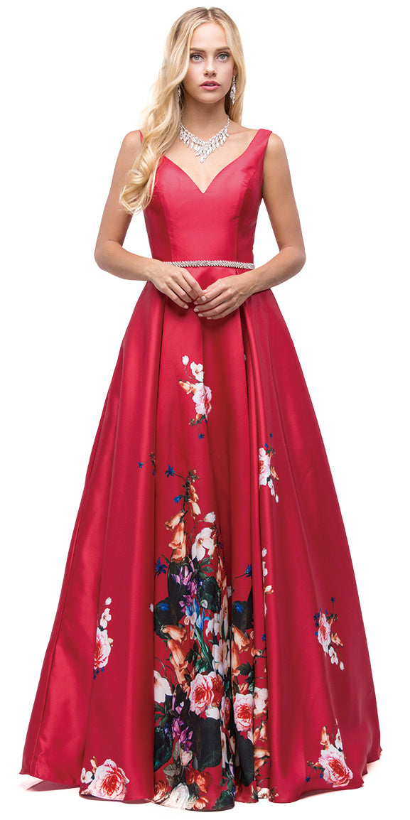 Image of V-neck Floral Print Rhinestones Waist A-line Long Prom Dress in an alternative image