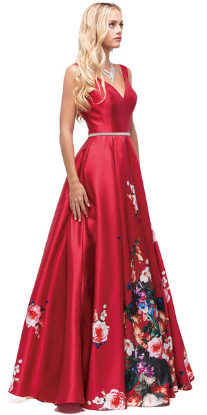 Main image of V-neck Floral Print Rhinestones Waist A-line Long Prom Dress