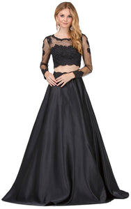 Image of Long Sleeve Lace Top Satin Skirt Two Piece Prom Dress in Black