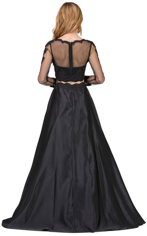 Image of Long Sleeve Lace Top Satin Skirt Two Piece Prom Dress back in Black