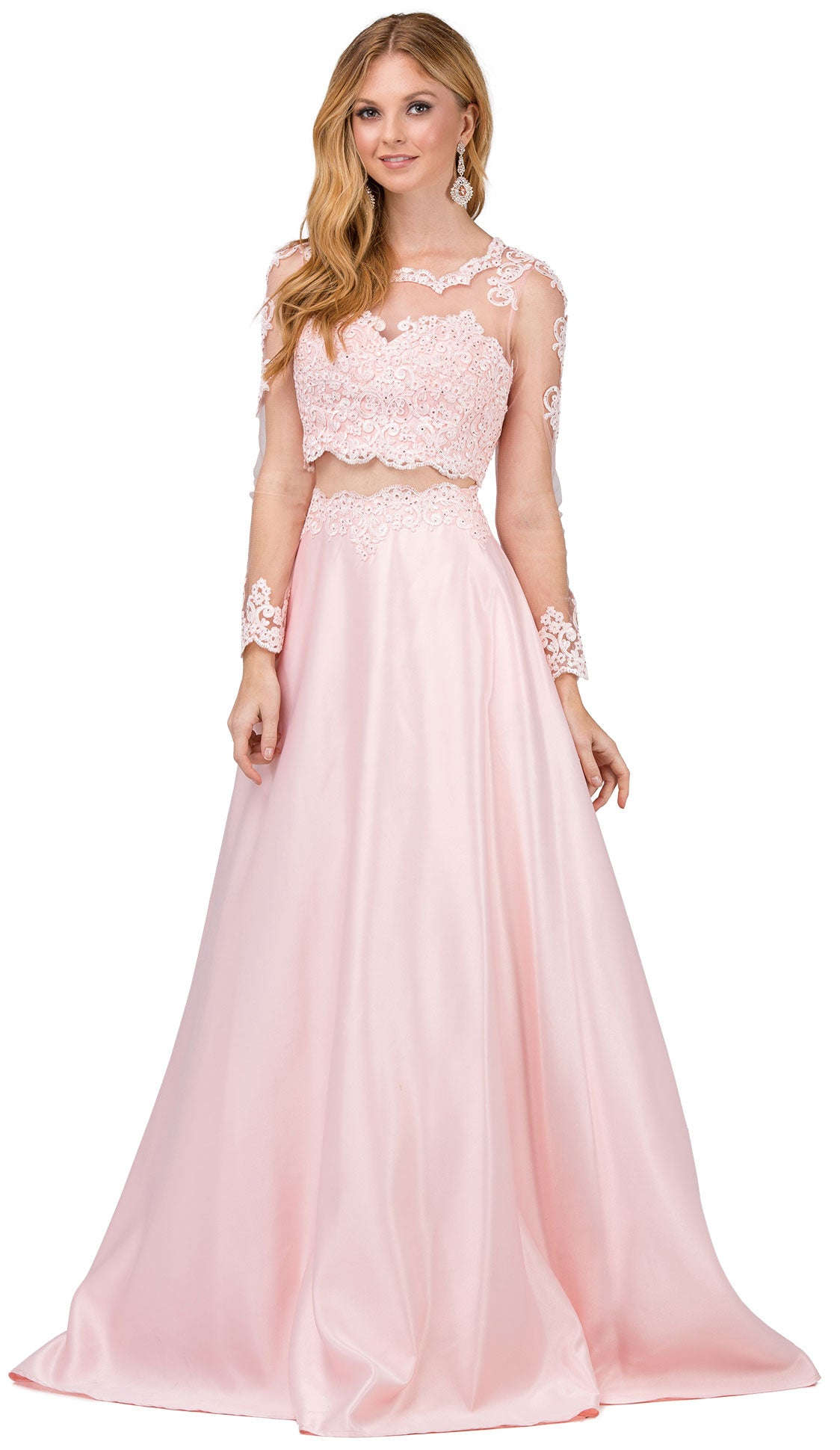 Image of Long Sleeve Lace Top Satin Skirt Two Piece Prom Dress in Blush