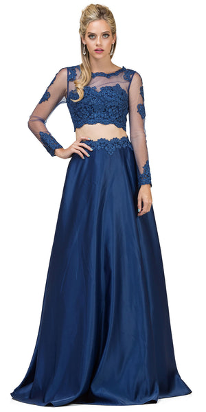 Image of Long Sleeve Lace Top Satin Skirt Two Piece Prom Dress in Navy