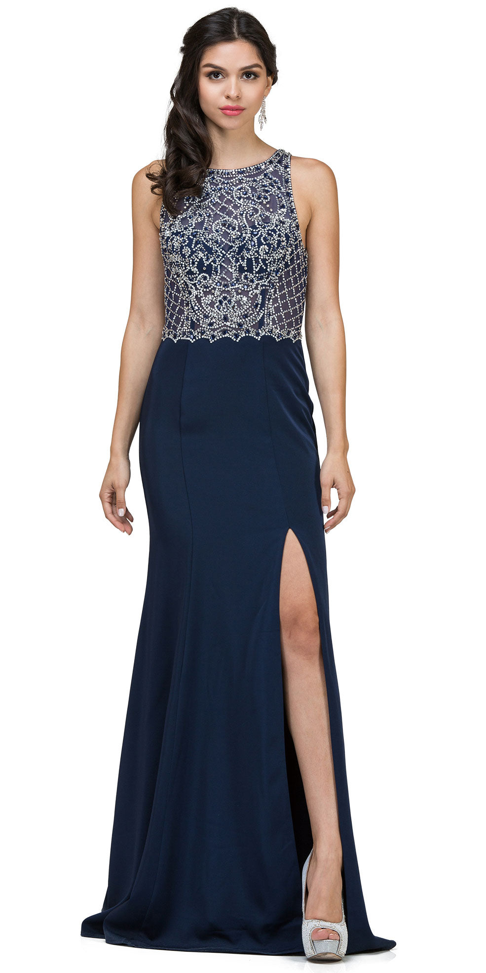 Image of Rhinestones Mesh Top Keyhole Back Long Prom Dress in Navy